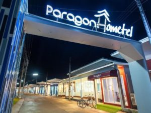 Accommodation is in small houses at Paragon Hometel